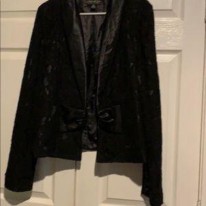 Black satin lined lace tux jacket